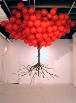 atavus:  Oak tree hanging by helium balloons by Myeombeom Kim