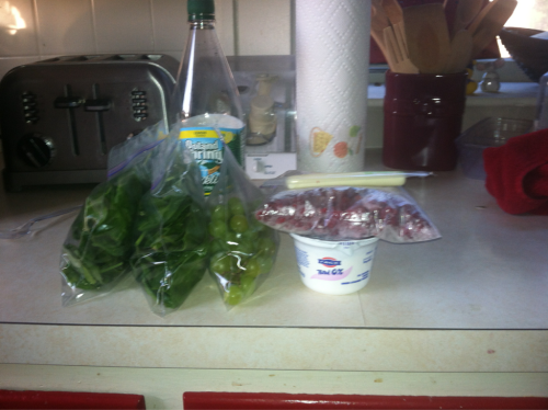 I need to invest in new Tupperware.  2 bags raw spinach 1 cup small green grapes 1 cup frozen raspberries+6oz fage plain 1 ww string cheese  Will buy bell pepper for snack at work. Get those veggies in! I love healthy, my meals are always so colorful(: