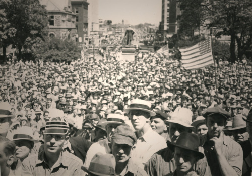 "todayinlaborhistory:  Today in labor history, June 6, 1937:  A general strike by some 12,000 auto workers and others in Lansing, MI, shuts down the city for a month in what would become known as the city's ""Labor Holiday.""  The strike was precipitated by the arrest of nine workers, including the wife of the local union president."
