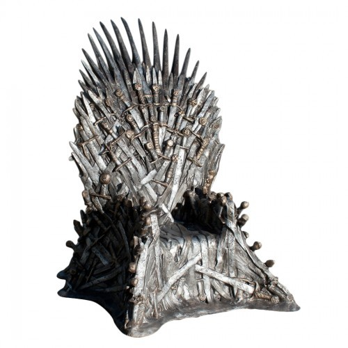 "Things I do not need… Iron Throne Replica.  Clocking in at $30,000 (plus tax), this is pretty much something that no one on earth needs… that said, it would be pretty cool to use as my office chair.  My office will now be referred to as Kings Landing, my dwight bobble head, my King's Guard, I shall call my letter opener ""Ice"", anyone who crosses me will taste its steel… or aluminum… it may actually be plastic. HBO"
