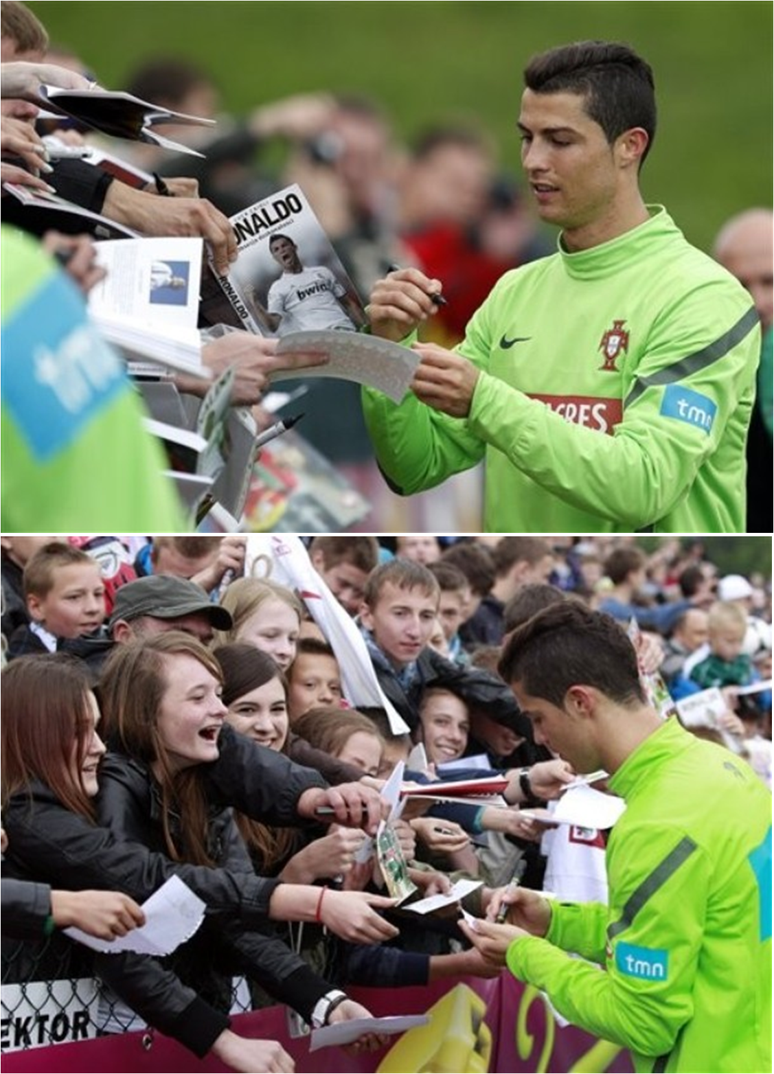 Making the fans happy. Training in Opalenica 05.06.2012(via Photo from AP Photo)