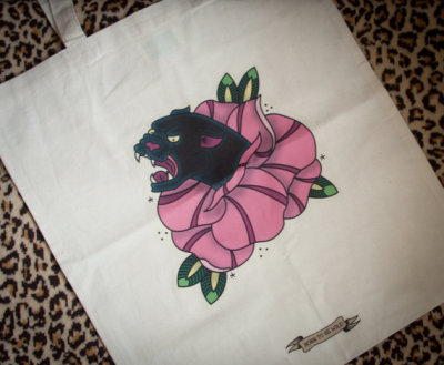 TATTOO FLASH STYLE TOTE BAG, BOLD AND BRIGHT AND JUST £5.00 CLICK THROUGH TO ORDER.