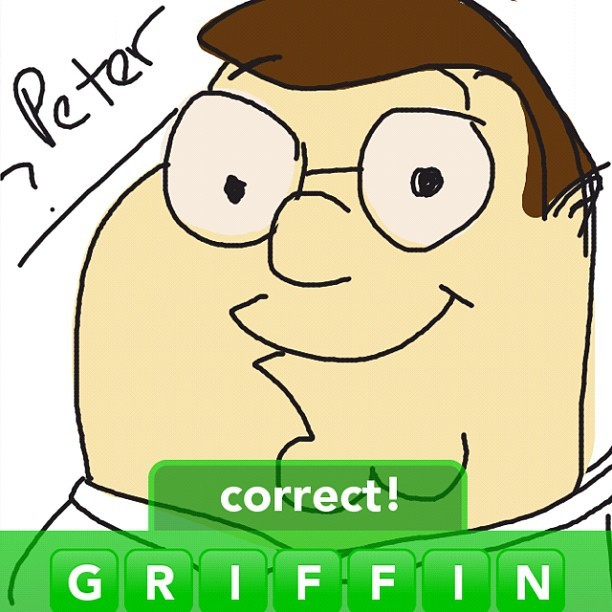 #drawsomething #drawsomethingdesigns #petergriffin #familyguy #cartoons (Taken with instagram)