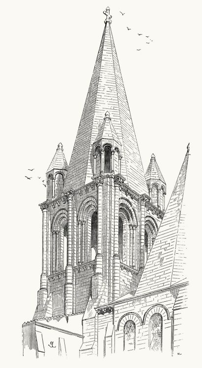 oldbookillustrations:  Loches, center steeple of the collegiate church of Saint-Ours.  From Dictionnaire raisonné de l'architecture française du XIe au XVIe siècle (Reasoned dictionary of French architecture, from the XI to the XVI century), vol. 3 by E. Viollet-Le-Duc. Paris, 1875.  (Source: archive.org)