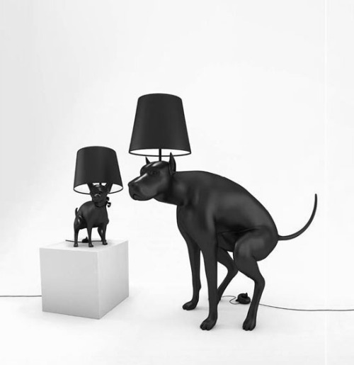 The Good Boy & Good Puppy lamps where designed as an item of everyday use that makes the user feel uncomfortable when turning the lamp on or off. The On/Off switch is shaped as a turd that needs to be stepped on. Pooping Dog Lamps by http://www.whatshisname.co.uk/