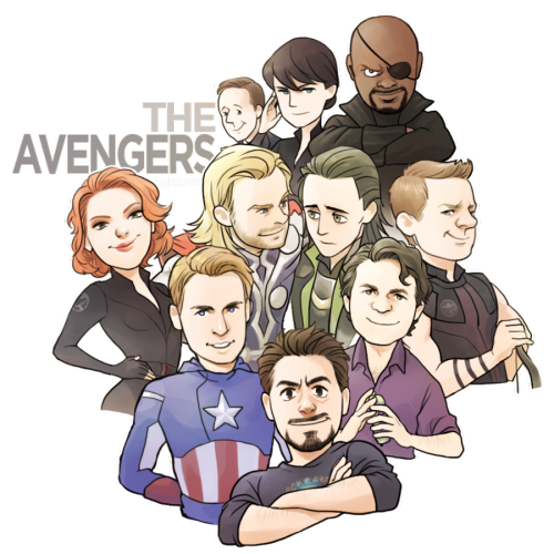 imsugoiandiknowit:  legolas-booty:  rogers-and-stark:  THE AVENGERS by *Hallpen  WOW THIS IS SO CUTE AND IT INCLUDES EVERYONE, EVEN MARIA? WHAT THE FUCK I'M SO HAPPY.   everyone is so goddamn adorable adfjdsflas and look at loki's puppy eyes LOOK AT THEM