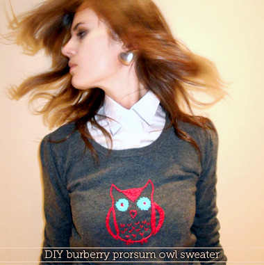 truebluemeandyou: DIY Burberry Prorsum Embroidered Owl Sweater Tutorial. Reblogging because so far this is the best interpretation by far of this sweater and you can wash it without it falling apart and things falling off.  DIY Burberry Prorsum Embroidered Owl Sweater Tutorial. Beginner level. Tutorial from made in pretoria here.