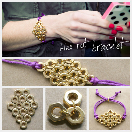 truebluemeandyou:  DIY Diamond Hex Nut Bracelet Tutorial. If you read my blog you know I love hardware store jewelry. Tutorial from Trinkets in Bloom here. *One image download. *If you want to do this bracelet with beads I posted a tutorial by Studs and Pearls here.