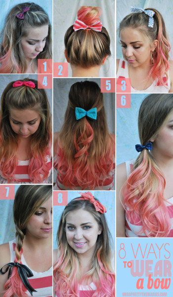 truebluemeandyou:  DIY Eight Ways to Wear a Bow. Go to Oh So Pretty (one of my favorite blogs) for more details and lots of other ideas and DIYs.*One image download.