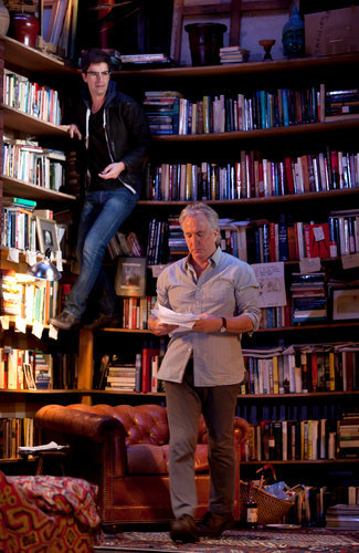 awesomepeoplereading:  Alan Rickman reads. Thanks for ohmycomelookatthis for hipping me to the picture.  ohmycomelookatthis:  Alan Rickman and Hamish Linklater on the set of Seminar.  TOTAL book porn.  Oh, and Mr. Rickman wasn't too bad either…