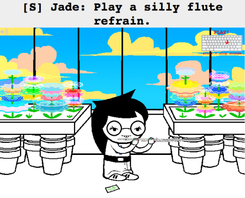 Go here: PLAY A SILLY FLUTE REFRAIN Hit these: XXJJKKJHHB(hold)C(hold)X Anyone else come up with songs to play on the Jade flute? Possibly more sophisticated than mine?