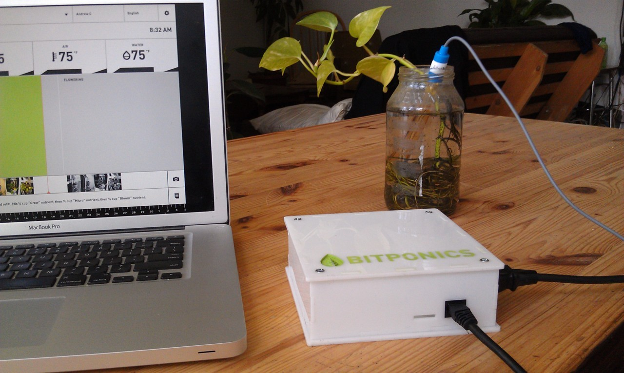 """Bitponics"" It's a device and a website that will simplify hydroponic gardening. You tell it about your setup and what plants you're growing, and it provides you with a personalized growing plan that tells you how to achieve the best possible results. Sensors in your garden send readings to your account on the Bitponics website. The website then processes that information and sends notifications back to your device to control things such as pumps and lights. You can track your results and share your experiences with other users, so that we all help each other become better gardeners. ____________________ For future reference."
