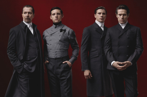 businessoffashion:  Prada's Fall/Winter 2012 Menswear Campaign, featuring Gary Oldman, Garrett Hedlund, Jamie Bell and Willem Dafoe.  Wow!