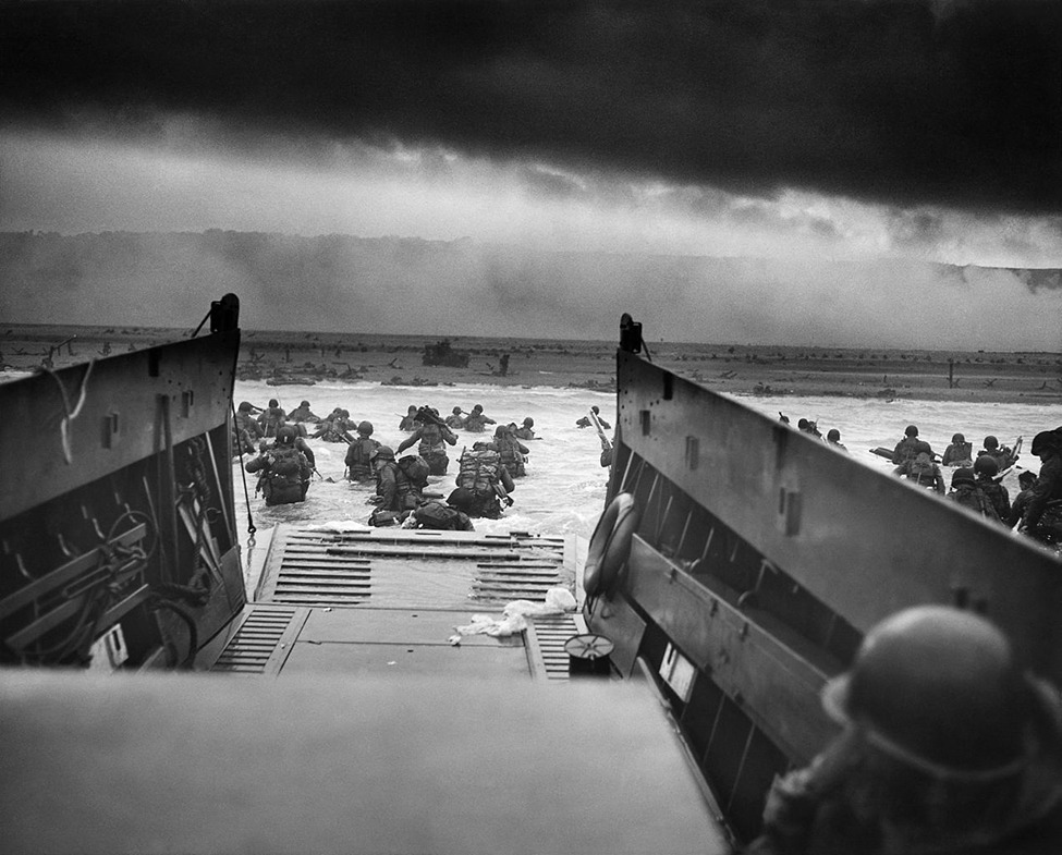 Into the Jaws of Death  On June 6, 1944, Allied powers landed on the beaches of Normandy, France during World War II.  Photo: United States Coast Guard / The National Archives Ed note: Check out this amazing aerial view of the Omaha beachhead after it was secured during World War II.