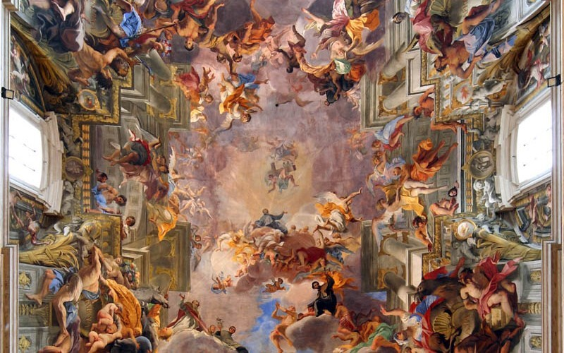 Ceiling of St. Ignazio in Rome painted by Andrea Pozzo between 1685-1694 Amazing trompe l'oeil.