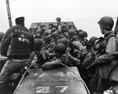 operationbarbarossa:  American troops of the 1st Infantry Division leaving the port of Weymouth, England en route to Omaha Beach in Normandy - June 1944  Photo by Robert Capa