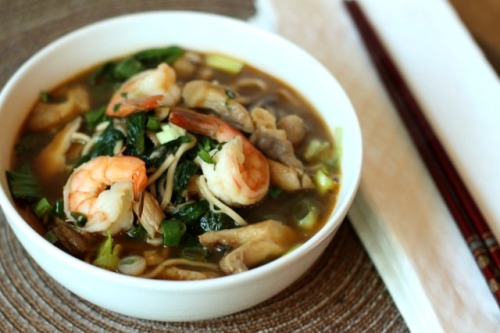 homemade noodles with shiitake & oyster mushrooms, spinach and shrimp