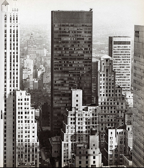 hiromitsu:  seagram building from new york hilton october 1963 by eralsoto on Flickr.