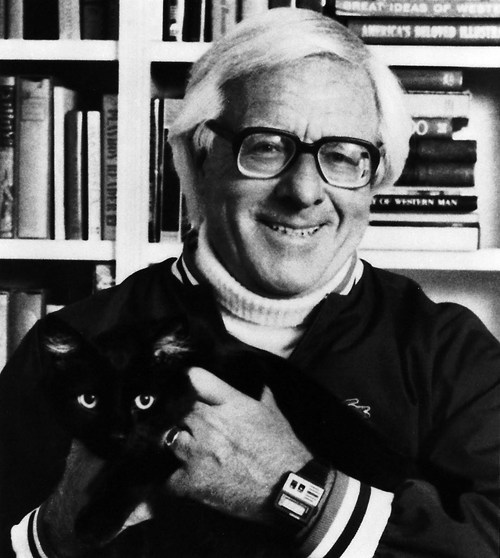 "thedailywhat:  RIP: Ray Bradbury, at 91: Ray Bradbury, literary genius and acclaimed sci-fi and fantasy author of Fahrenheit 451, The Martian Chronicles, and Something Wicked This Way Comes, died late Tuesday in Los Angeles. He was 91. His grandson, Danny Karapetian, shared the news:  If I had to make any statement, it would be how much I love and miss him, and I look forward to hearing everyone's memories about him. He influenced so many artists, writers, teachers, scientists, and it's always really touching and comforting to hear their stories. Your stories. His legacy lives on in his monumental body of books, film, television and theater, but more importantly, in the minds and hearts of anyone who read him, because to read him was to know him. He was the biggest kid I know.  Bradbury had suffered a stroke in recent years that left him confined to a wheelchair. But he continued to write novels, plays, screenplays, and a volume of poetry late in life. ""What I have always been is a hybrid author,"" Bradbury said. ""I am completely in love with movies, and I am completely in love with theater, and I am completely in love with libraries."" In fact, Bradbury wrote Fahrenheit 451 at the UCLA library, on typewriters that he rented for 10 cents per half hour. He carried a sack full of dimes to the library and completed the book in nine days, at a cost of $9.80. ""I never went to college, so I went to the library,"" he said. ""The great thing about my life is that everything I've done is a result of what I was when I was 12 or 13."" [io9]"