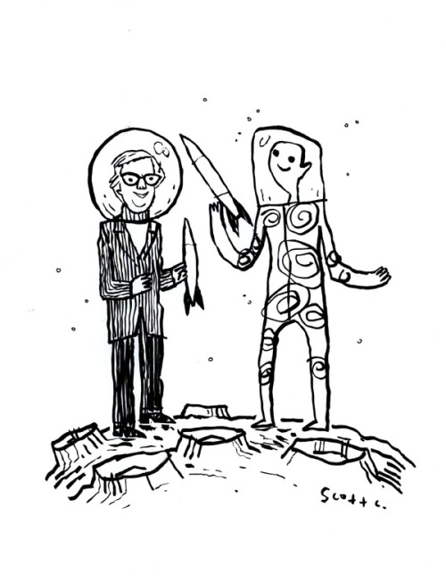 heyoscarwilde:  R.I.P. Ray Bradbury (August 22, 1920 — June 6, 2012) illustration by Scott Campbell :: scanned from the original artwork :: personal collection :: originally posted at heyoscarwilde.com