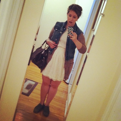 vintage vest, club monaco cardigan, forever21 dress, steven oxfords, bally bag
