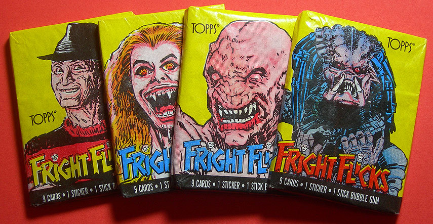 dinosaurdracula:  Fright Flicks trading cards, from 1988. Free stick of gum with each pack! Get the full story, here.