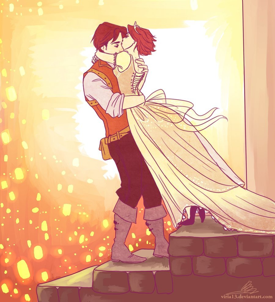 Eugene and Rapunzel by *viria13 This is another one of my favorite pieces of fanart. I love the expressions on their faces, the way each of them is holding each other, Rapunzel's dress, Eugene's clothes, the way Rapunzel is kissing Eugene … everything!