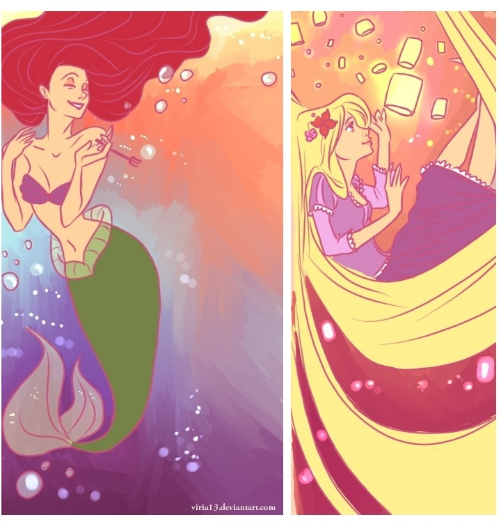Ariel and Rapunzel by *viria13