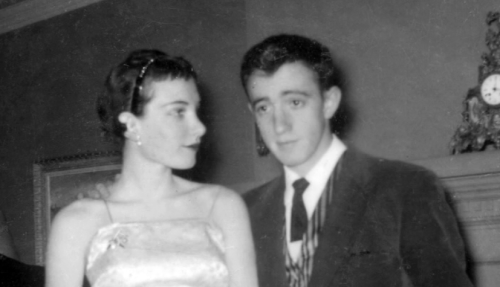 19-year-old Woody Allen with his first wife, Harlene Rosen. 1954. (Via)