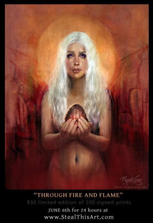 "meganlara:  ""Through Fire and Flame""http://www.stealthisart.com/  $30 limited edition of 100 signed prints14"" x 18"" Giclee on Matte Velvet Art Paperavailable June 6th for 24 hours by Megan Lara   •Geekleetist: Follow Megan she's one of those artists that makes ya wanna quit arting. This print available today ONLY•"