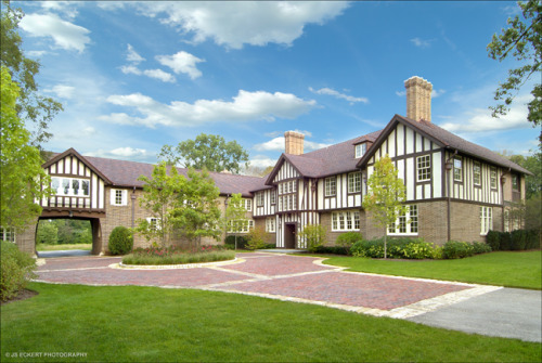 """Two Gables"" by H.T. Lindeberg in Lake Forest, Ill. Built in 1910 for banker Orville Babcock, it was sold in 1913 to Laurance Armour. David Adler renovated the house in 1923 and the Armour family occupied the house until the late 1980s when it was famously sold to Mr. T. Yes, you read that correctly. Mr. T sold the property in the 1990s."