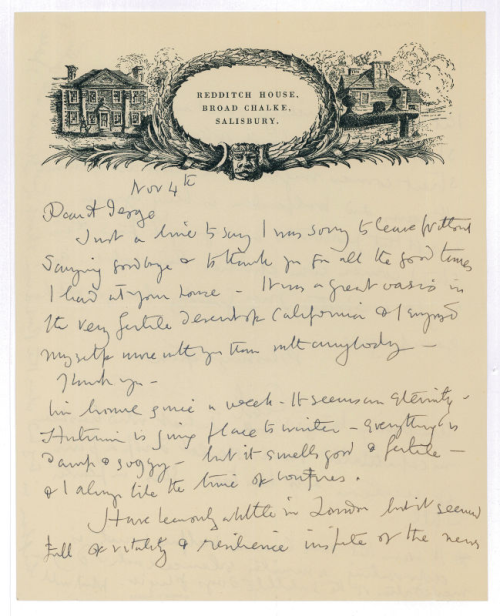 thecarycollection: Fab Cecil Beaton letter on his Redditch House stationary!~