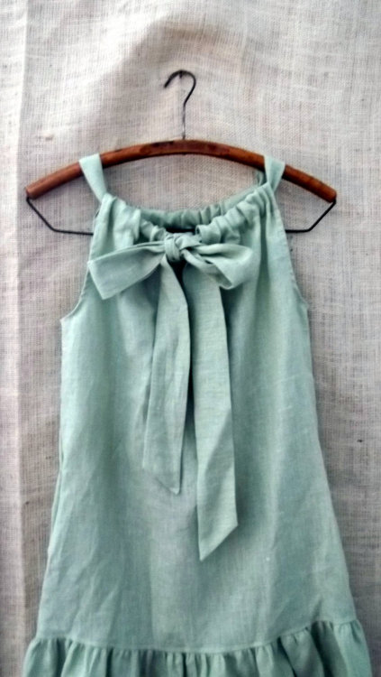 source: Bayou Salvage ~ pretty linen bow ruffle dress in cypress green