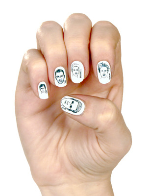 "Would you wear Ryan Gosling's face on your fingernails?  Rad Nails just debuted Hot Man-icure, a ""steamy nail set"" featuring illustrated versions of our favorite pretty boys, including Ryan Gosling, Robert Pattinson, Joe Jonas, Zac Efron, and Pharrell. (Ryan Gosling is the thumb).Available in white or clear (to be applied over the polish color of your choosing), these nail wraps, created by MTV Style Editor, Chrissy Mahlmeister, have our hearts aflutter. Unfortunately, looking down at our hands and seeing a bevy of man candy staring back up at us is really slowing down our productivity at the office. Kind of hard to focus when you catch a glimpse of Ryan Gosling every time you hit the return key. So, try these nail strips at your own risk — but just don't blame us if you can't get any work done because you're too busy drooling staring at your hands.  Purchase here, for the affordable price of $18."