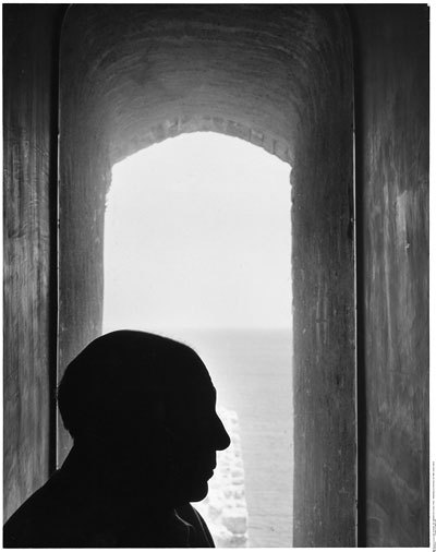 Picasso in Antibes, 1952. by Denise Colomb