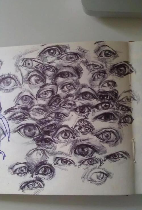 Slightly creepy sketchbook page of eyeballs. Thinking about the lid wrapping around the eye and folding under the brow - so many different ways!
