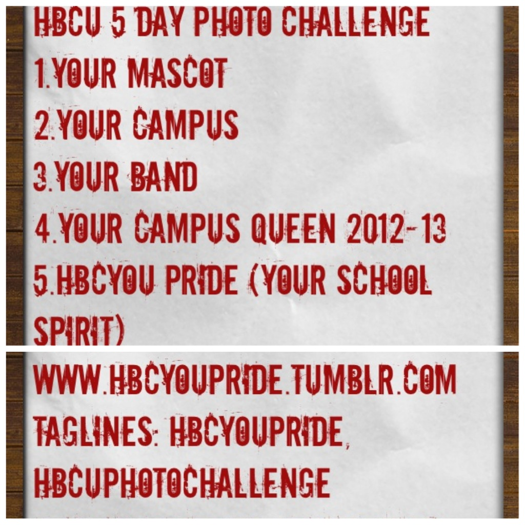 hbcyoupride:  HBCU 5 DAY PHOTO CHALLENGE! Submit your pictures to hbcyoupride.tumblr.com or use the tag lines: hbcyoupride or hbcuphotochallenge ! Tell your HBCU peers to join as well!