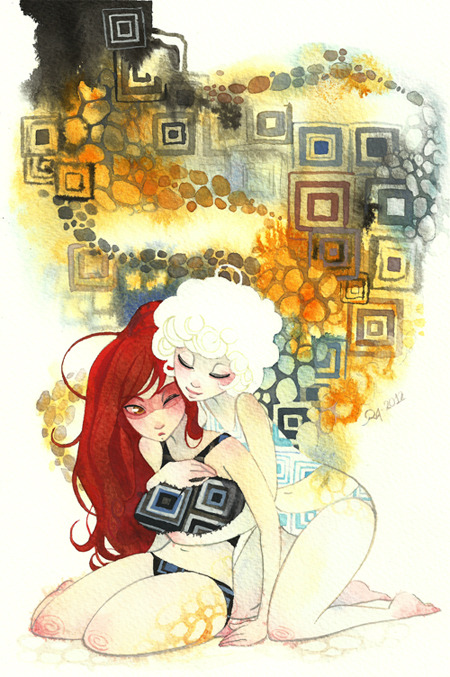 tir-ri:  Some lady fluff and a quite Gustav Klimt resembling background, which wasn't my original plan. I wanted to practice square patterns, since I usually tend to draw only round shapes. : -) *squish squish*