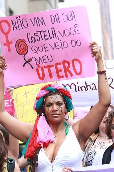 """I didn't come from your rib, you came from my uterus."" SlutWalk Sao Paolo, May 26, 2012"