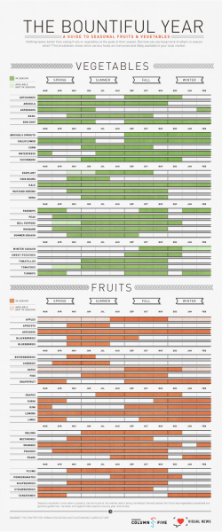Seasonal Fruit chart by Column Five and The Visual News! Make sure you're always buying the best.  (via The Bountiful Year: A Visual Guide to Seasonal Produce)