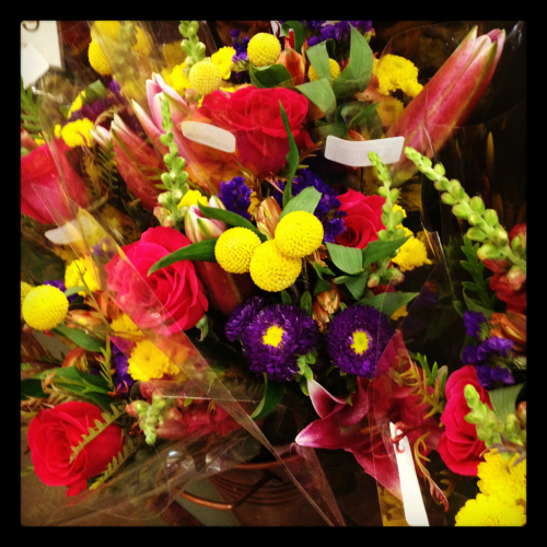 Gorgeous, bright locally grown mixed bouquets available at Alfalfa's today!