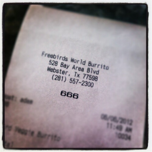 I was order number, 666! (@lordcocos) #freebirds #burrito #slipknot #heretic  (Taken with instagram)