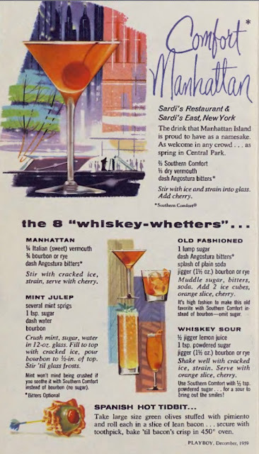 hollyhocksandtulips:  Southern Comfort cocktail recipes Playboy, 1959