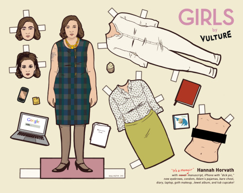 flannelanimal:  Doll #39Hannah Horvath, Girls Vulture and I collaborated again this week on a new set of paper dolls for HBO's Girls.  As a huge fan of the show's storytelling and visual aesthetic, these were such a treat to make. Click here for the article and the other dolls.  Truebluemeandyou: Illustrator Kyle Hilton's paper dolls are posted on the flannelanimal Tumblr Blog. There are paper dolls from: Drive, It's Always Sunny in Philadelphia, Downton Abbey, Breaking Bad, ARRESTED DEVELOPMENT (remember when Tobias Fünke dyed himself blue to join the Blue Man Group? That's in there). *Also see Andy Swist's True Blood paper dolls here.