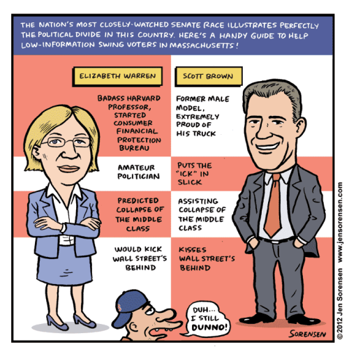 azspot:  Jen Sorensen: Warren vs. Brown voter guide