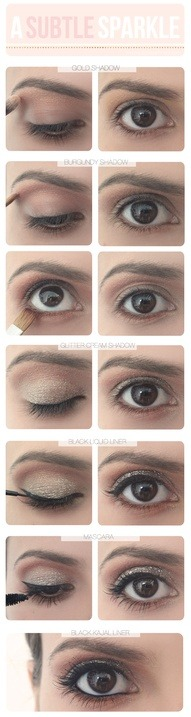 Subtle gold sparkle eye makeup #eyeshadow #cateye #browneyes | http://bit.ly/JXg9QX