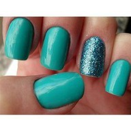 Turquoise with a sparkly accent! Gotta do this, like RIGHT NOW. #Nails | http://bit.ly/JXgcwb