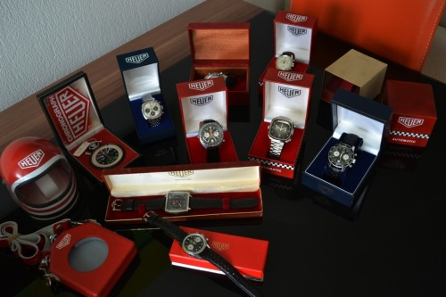 Nice collection of vintage Heuers!!  More information about them here.