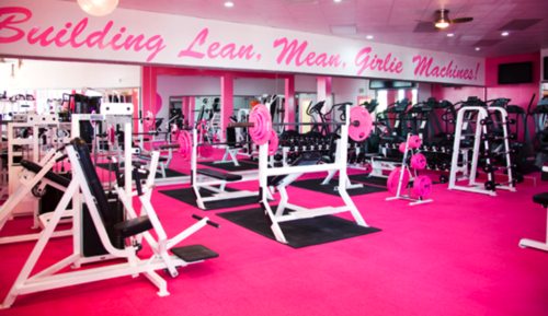 i-w0rk-out:  keep-calm-get-skinny:  bringingonachange:  Wish my gym looked like this, but i don't think the guys would like working out with pink weights :D  I'm pretty sure this is a womans gym, I am not entirely sure though.  .. and if a guy is /that/ uncomfortable with his sexuality he can't use pink weights.. well then.. lol.   it's called pink iron. it's an all female gym in la  (via imgTumble)