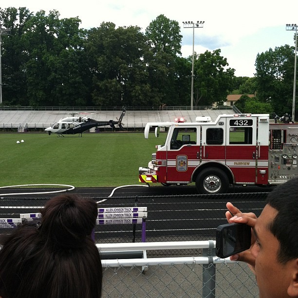 Well, my school just got the most realistic award. Cops, firetrucks, crashed car and a helicopter flew in! (Taken with instagram)